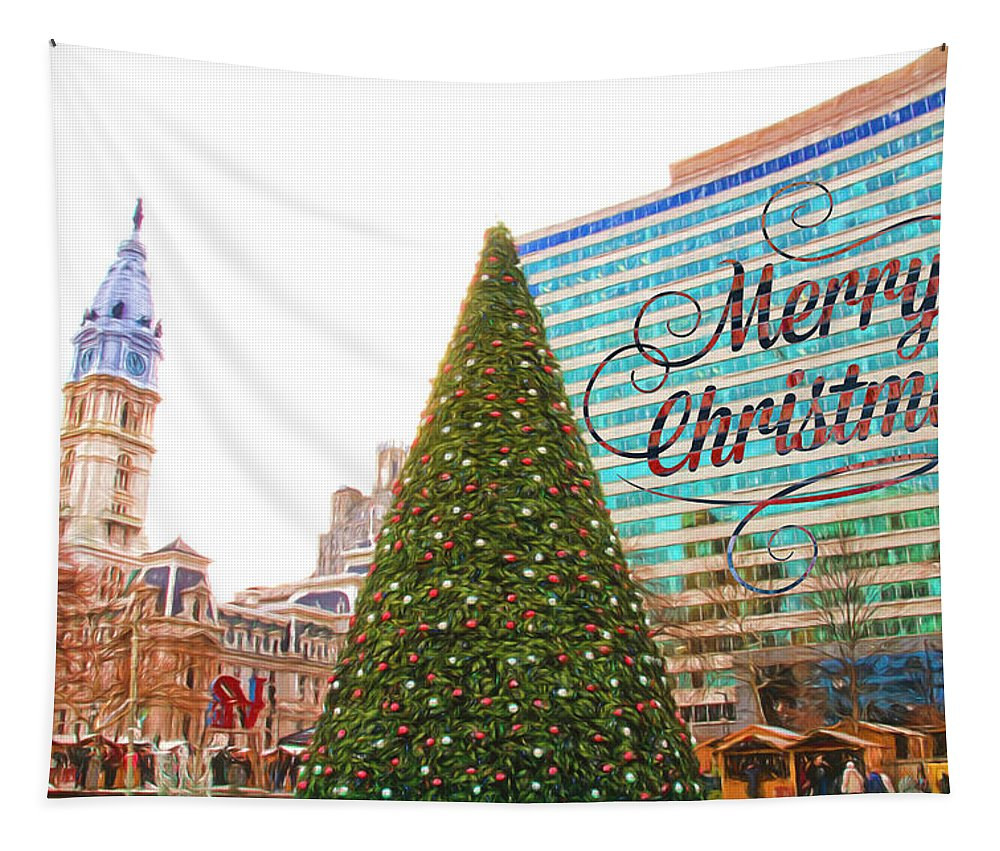 Merry Christmas Tapestry featuring the photograph Merry Christmas From Philadelphia by Alice Gipson