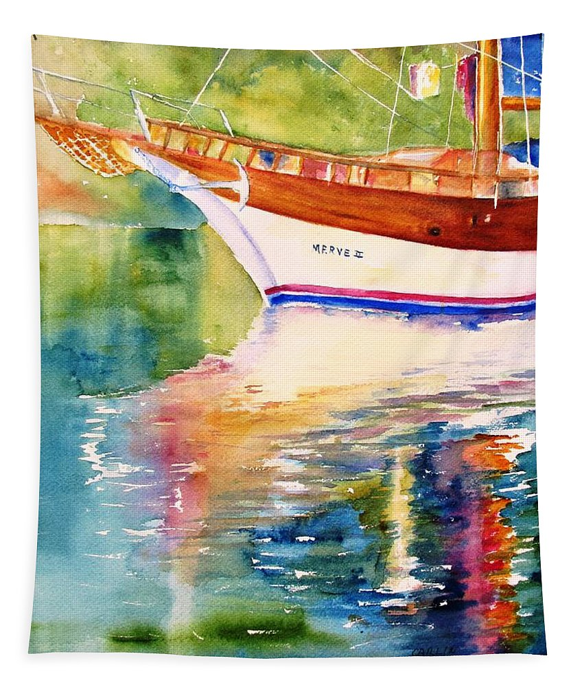 Sail Tapestry featuring the painting Merve II Gulet Yacht Reflections by Carlin Blahnik CarlinArtWatercolor