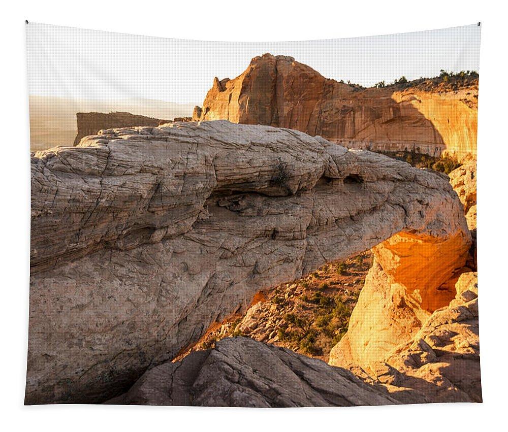 Mesa Arch Sunrise Canyonlands National Park Moab Utah Tapestry featuring the photograph Mesa Arch Sunrise 6 - Canyonlands National Park - Moab Utah by Brian Harig