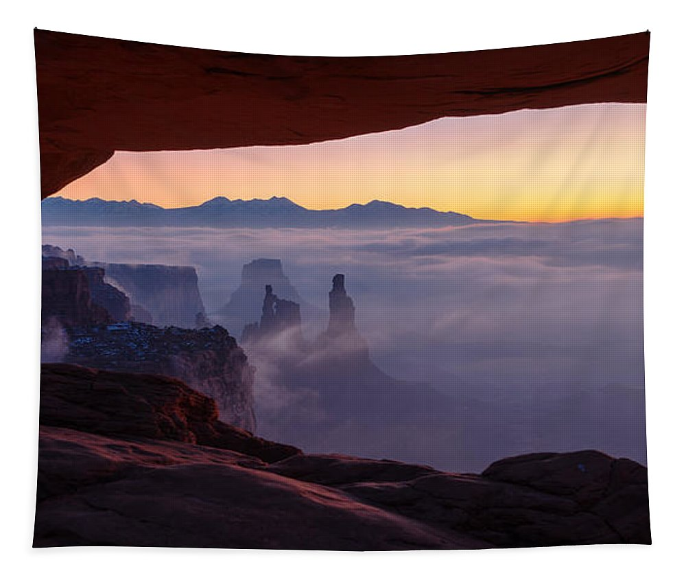 Canyonlands Tapestry featuring the photograph Mesa Mist by Chad Dutson