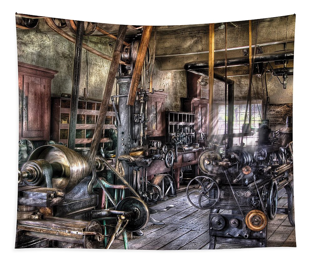 Savad Tapestry featuring the photograph Metal Worker - Belts And Pullies by Mike Savad