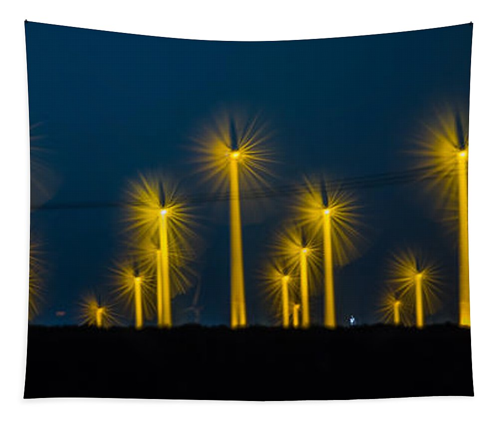 Wind Turbine Tapestry featuring the photograph Mi3 Wind Turbines 2 by Scott Campbell
