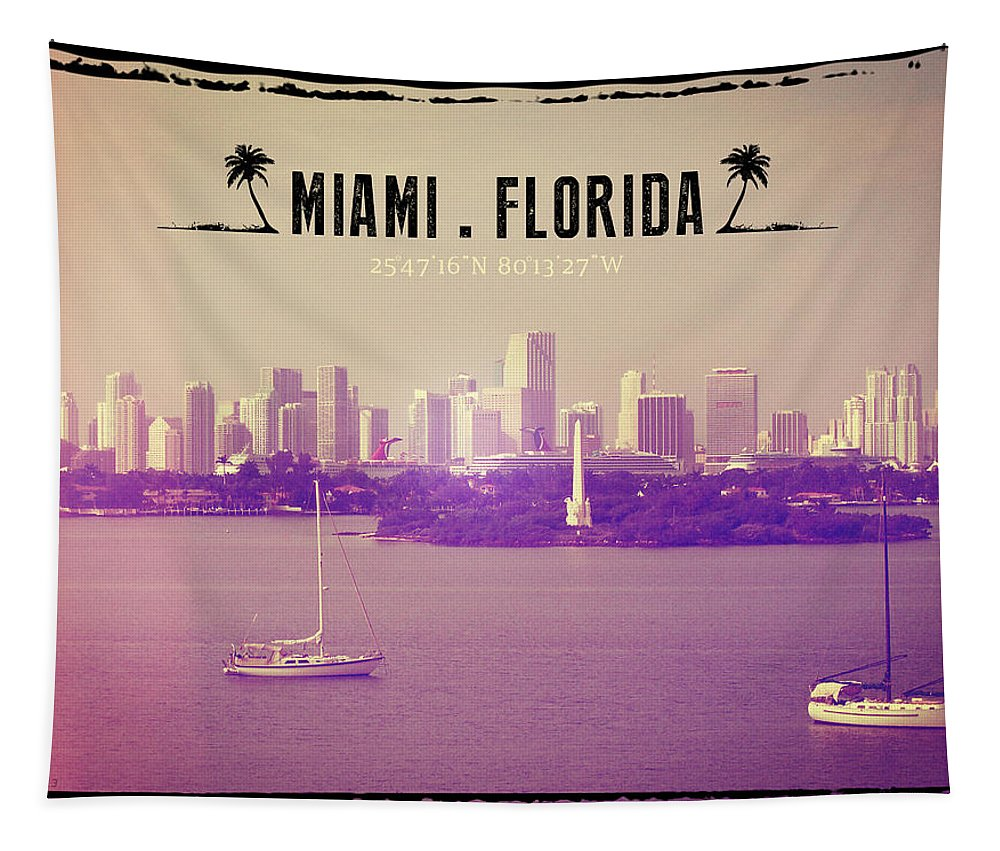 Miami Tapestry featuring the photograph Miami Florida by Phil Perkins