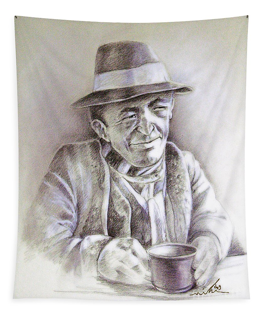 Portrait Michael Anderson Tapestry featuring the painting Michael J Anderson by Miki De Goodaboom