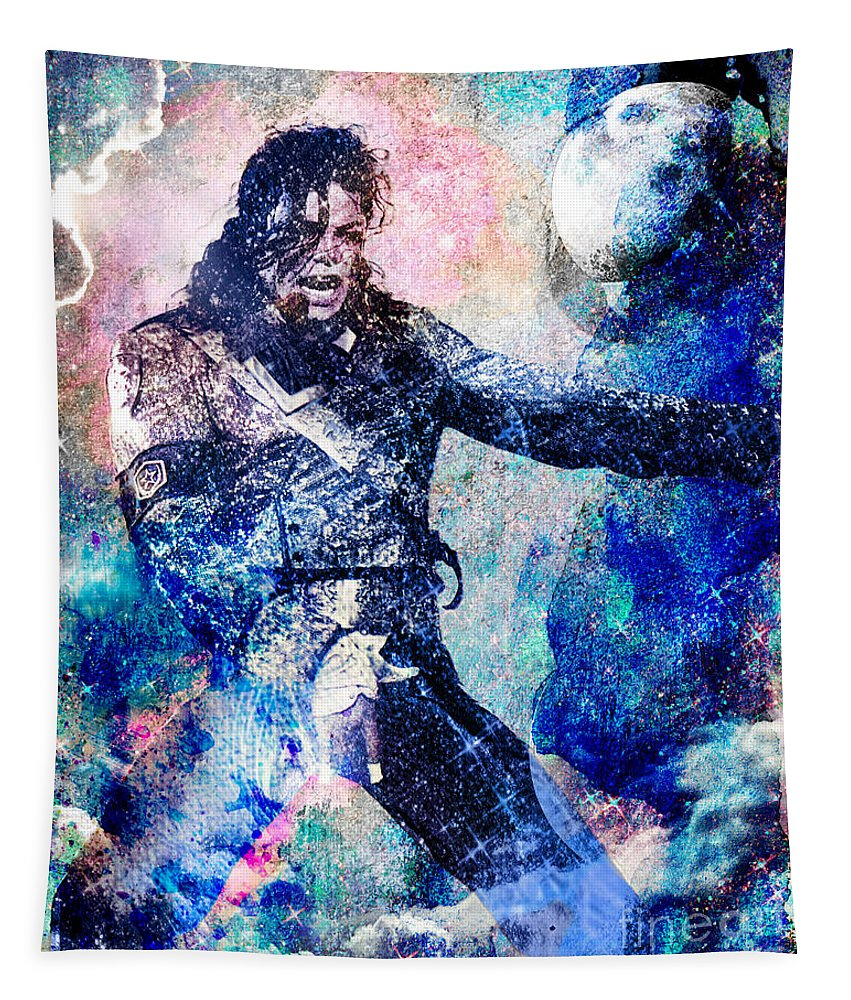 Rock Tapestry featuring the painting Michael Jackson Original Painting by Ryan Rock Artist