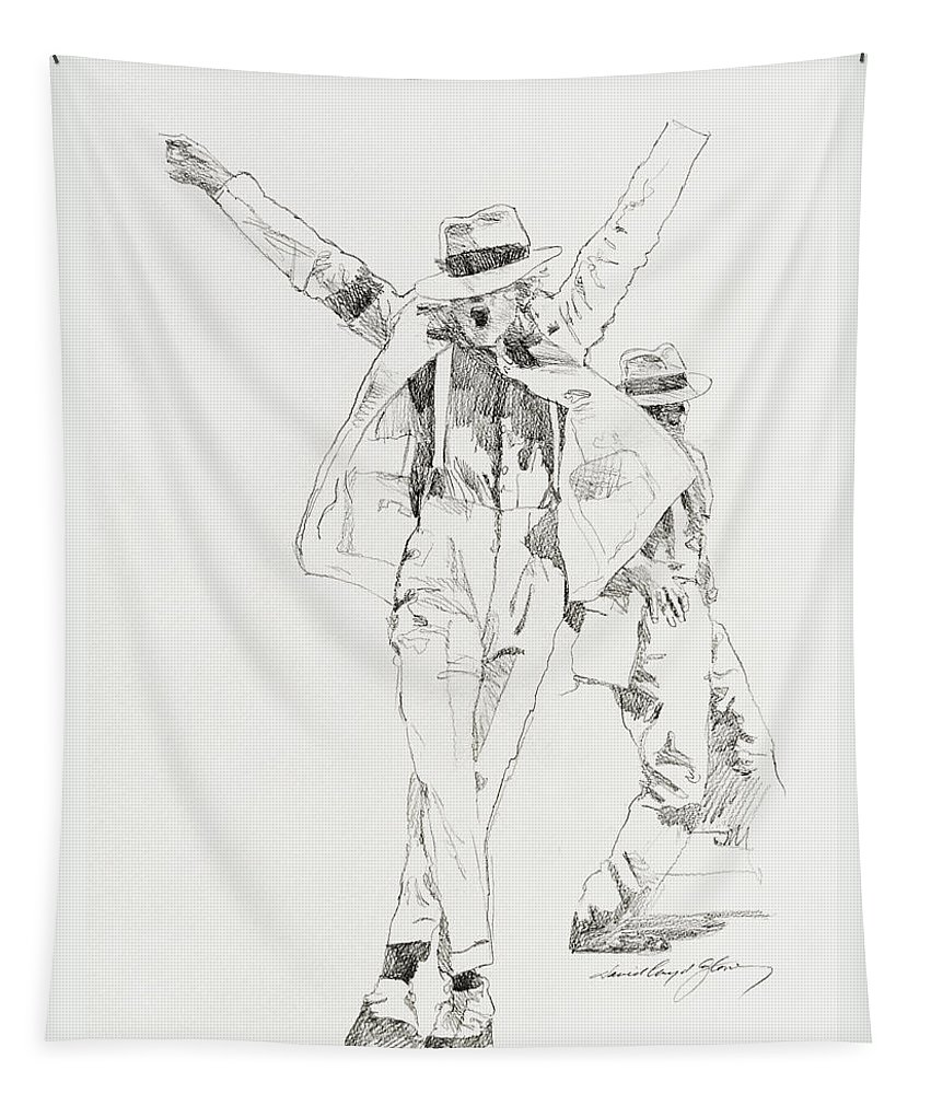 Michael Jackson Tapestry featuring the drawing Michael Smooth Criminal by David Lloyd Glover