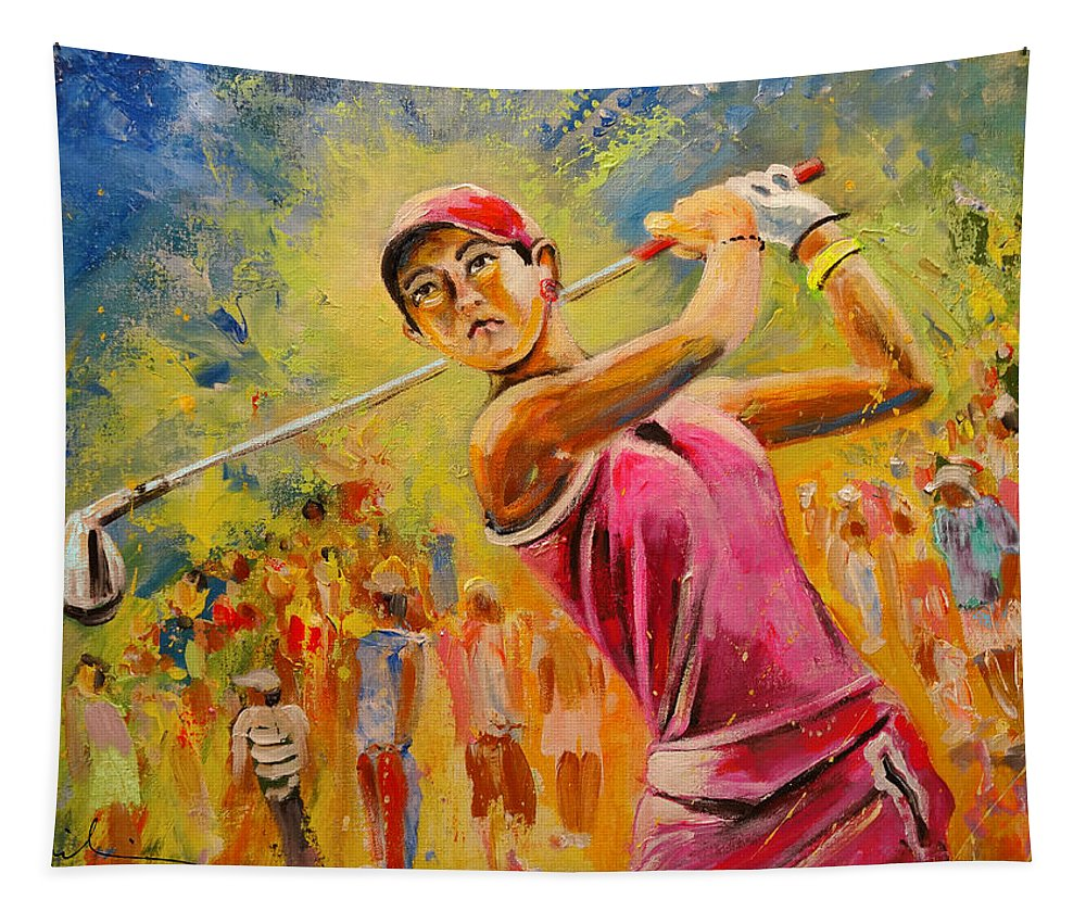 Michelle Wie Tapestry featuring the painting Michelle Wie by Miki De Goodaboom