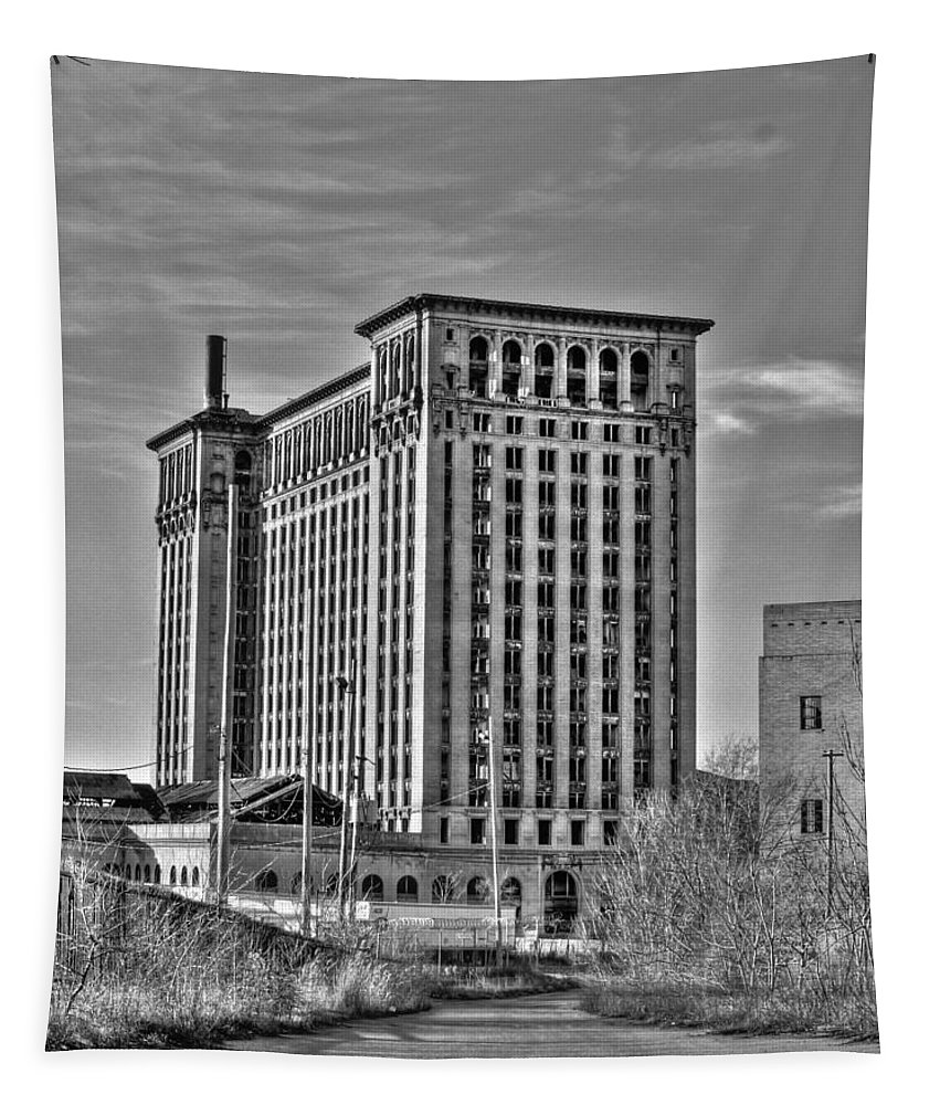 Michigan Central Tapestry featuring the photograph Michigan Central Station by Nicholas Grunas