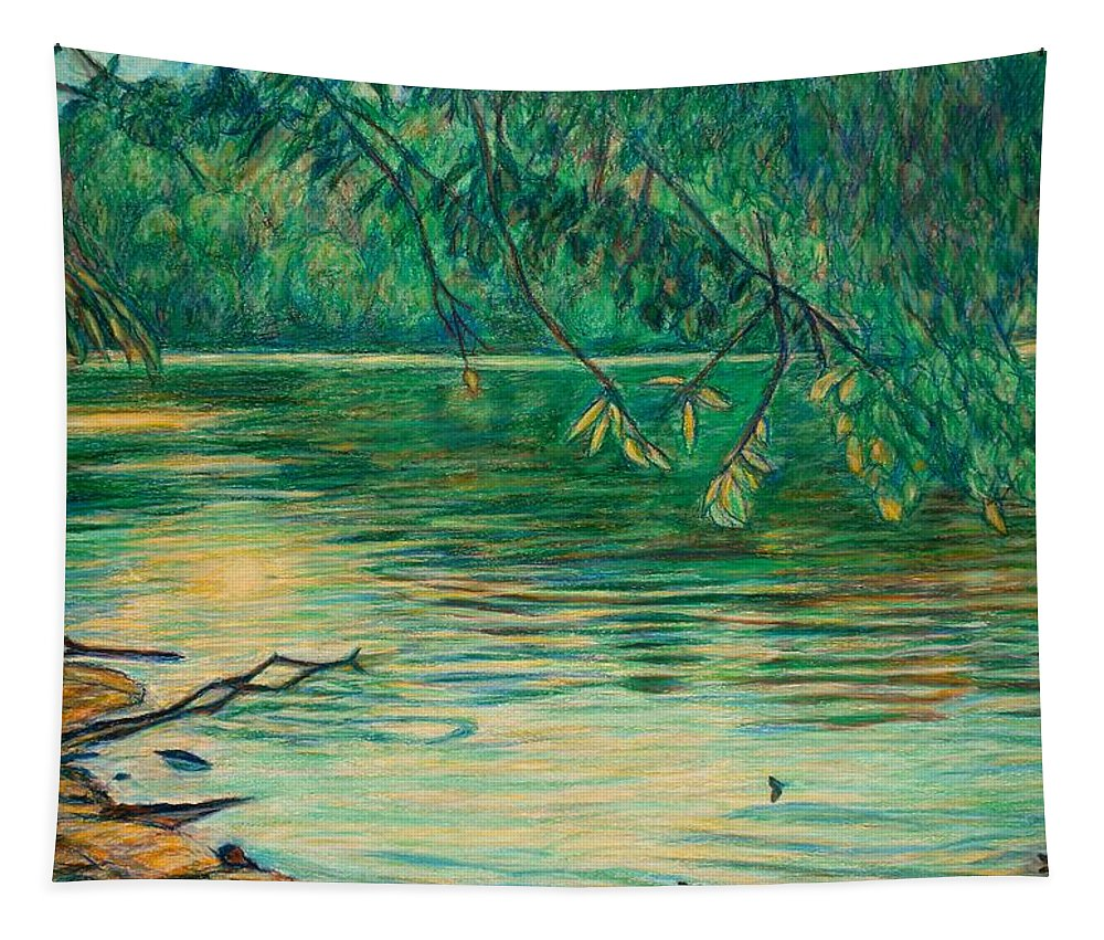 Landscape Tapestry featuring the painting Mid-spring On The New River by Kendall Kessler