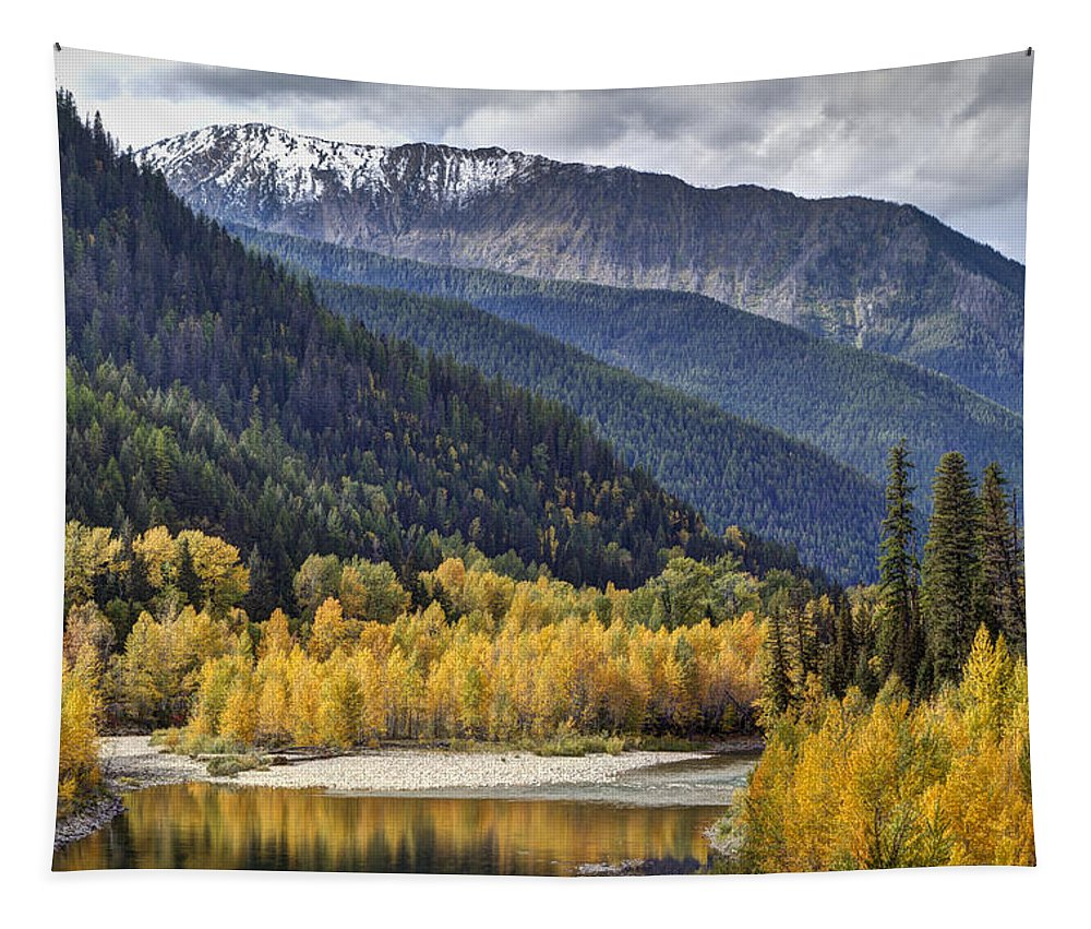 Autumn; Fall; Middle Fork Flathead River; Montana; Mountains; Nature; October; Outdoors; Reflection; River; Water; Yellow; Color; Flathead River; Landscape; Photo; Beautiful; Mark Kiver; Yellow; Sky. Forest; Trees; Aspen; Snow; Clouds Tapestry featuring the photograph Middle Fork Brillance by Mark Kiver