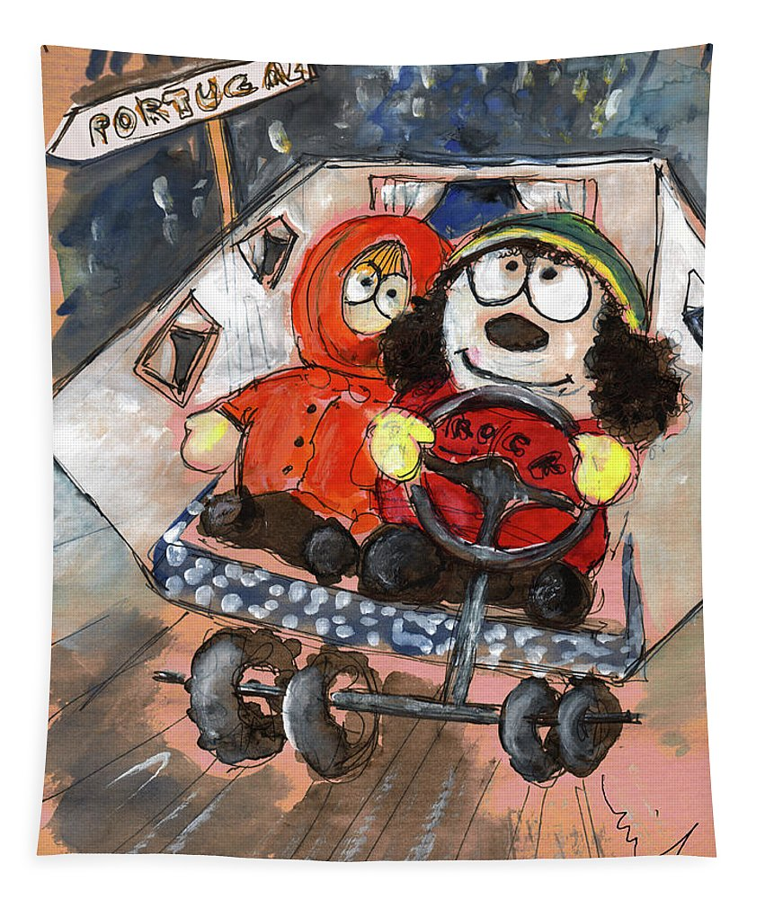 Cartman Tapestry featuring the painting Miki And Kev Moore On Their Way To Portugal by Miki De Goodaboom