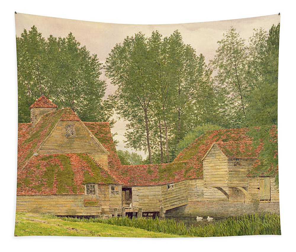 Dove Tapestry featuring the drawing Mill On The Thames At Mapledurham, 1860 by George Price Boyce