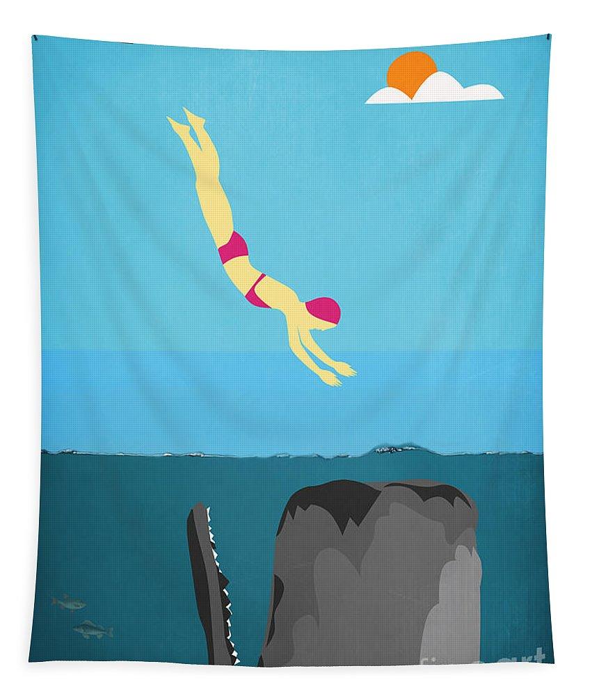 Minimal Tapestry featuring the digital art Minimal Sea Life by Mark Ashkenazi