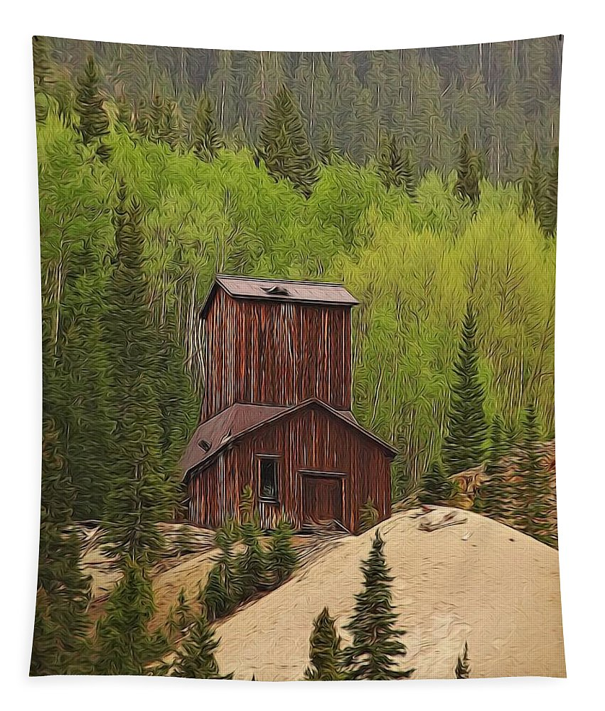 Old Mining Building Silverton Colorado Tapestry featuring the digital art Mining Building In Colorado by Dan Sproul