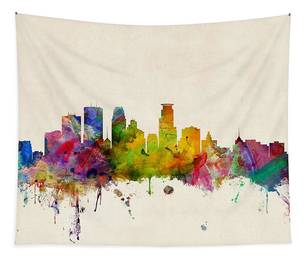 Watercolour Tapestry featuring the digital art Minneapolis Minnesota Skyline by Michael Tompsett