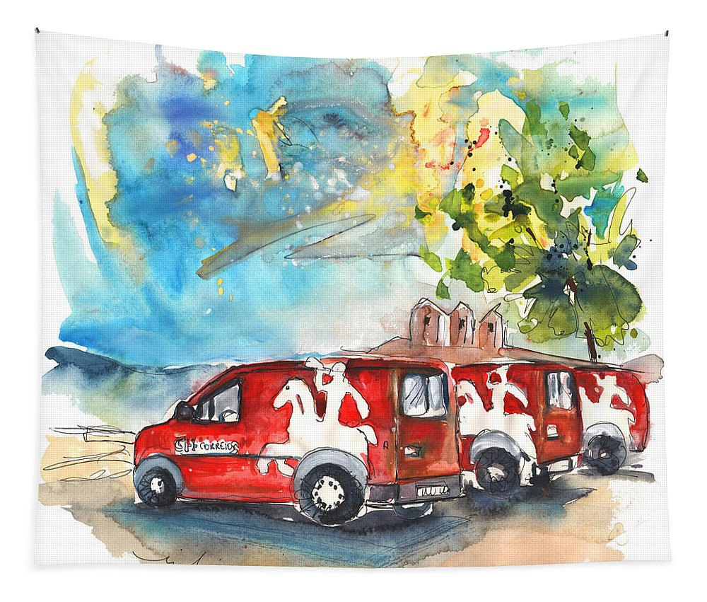 Travel Tapestry featuring the painting Miranda Do Douro Post Cars by Miki De Goodaboom