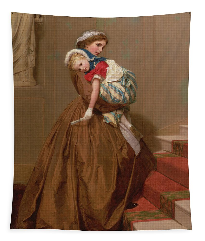 Girl Tapestry featuring the painting Miss Lilys Return From The Ball, 1866 by James Hayllar