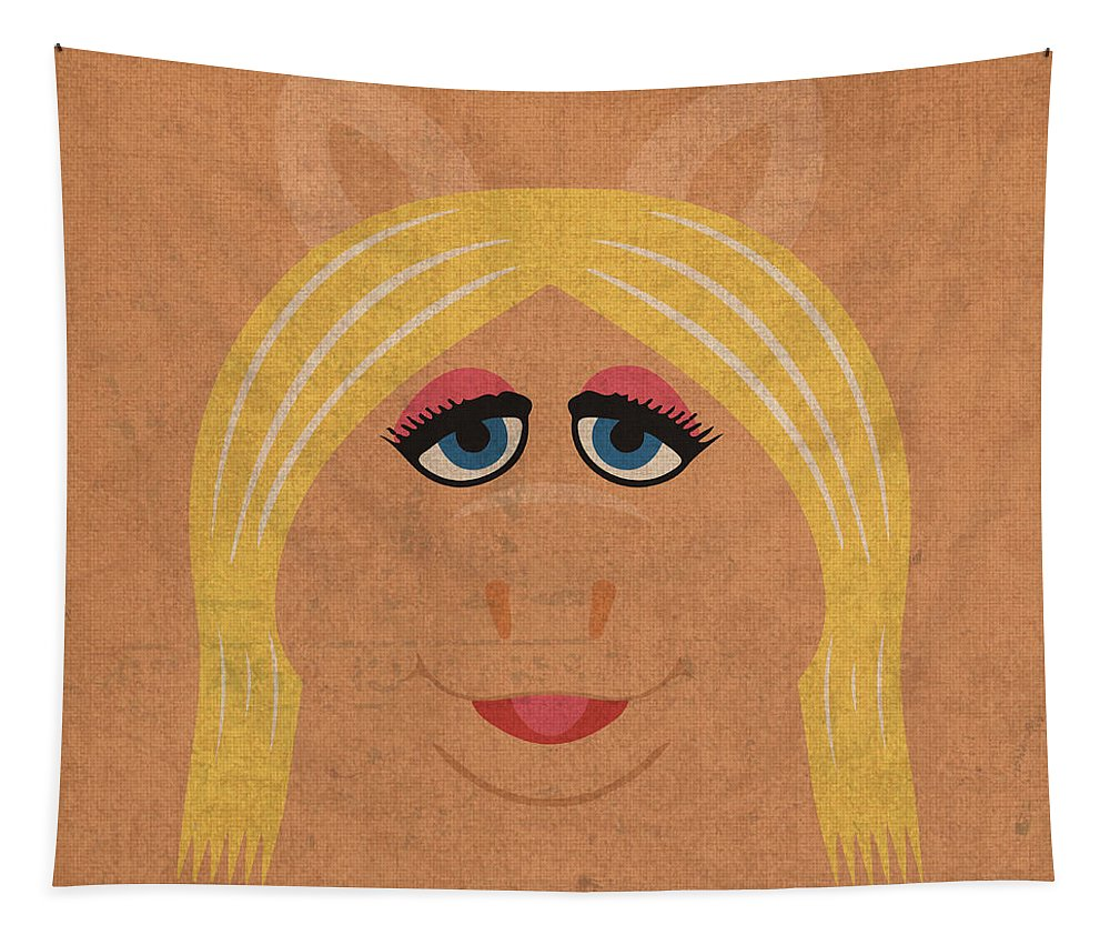 Miss Piggy Tapestry featuring the mixed media Miss Piggy Vintage Minimalistic Illustration On Worn Distressed Canvas Series No 011 by Design Turnpike