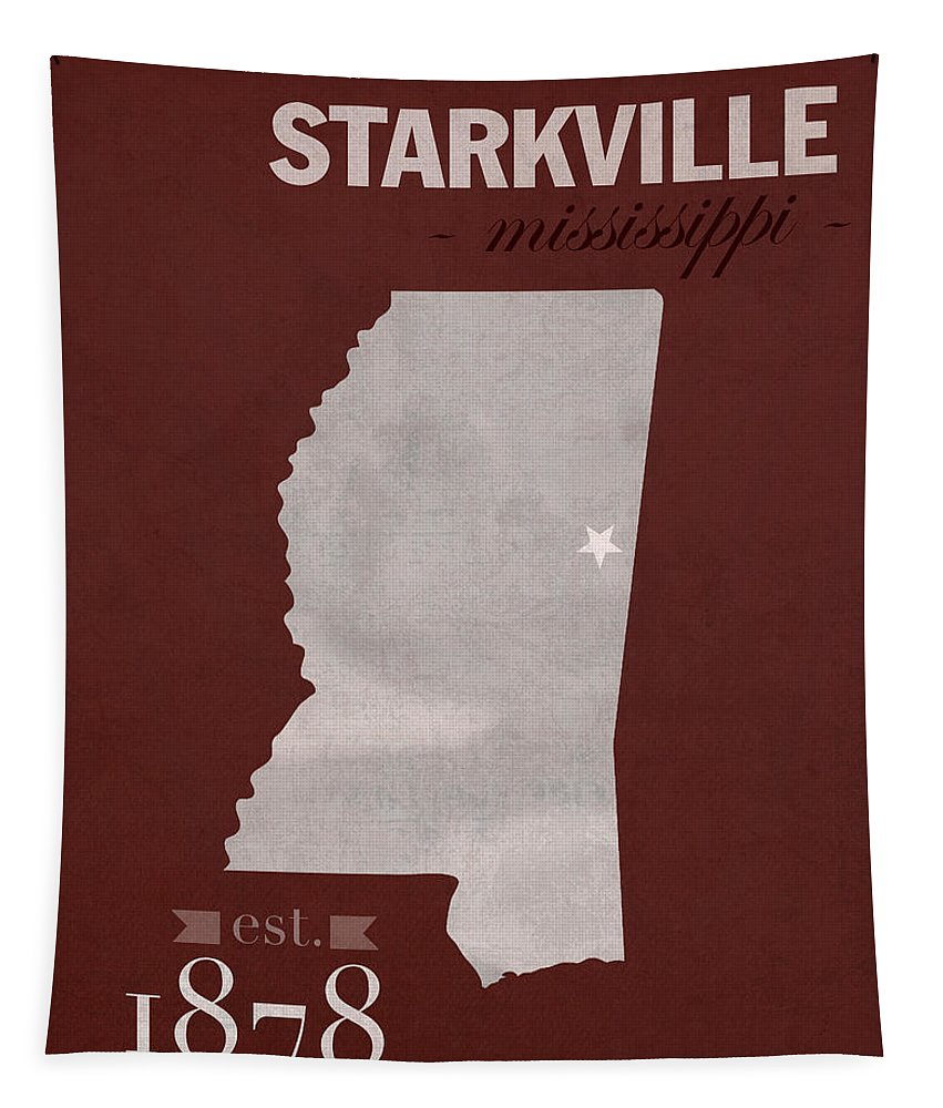 Mississippi State University Tapestry featuring the mixed media Mississippi State University Bulldogs Starkville College Town State Map Poster Series No 068 by Design Turnpike