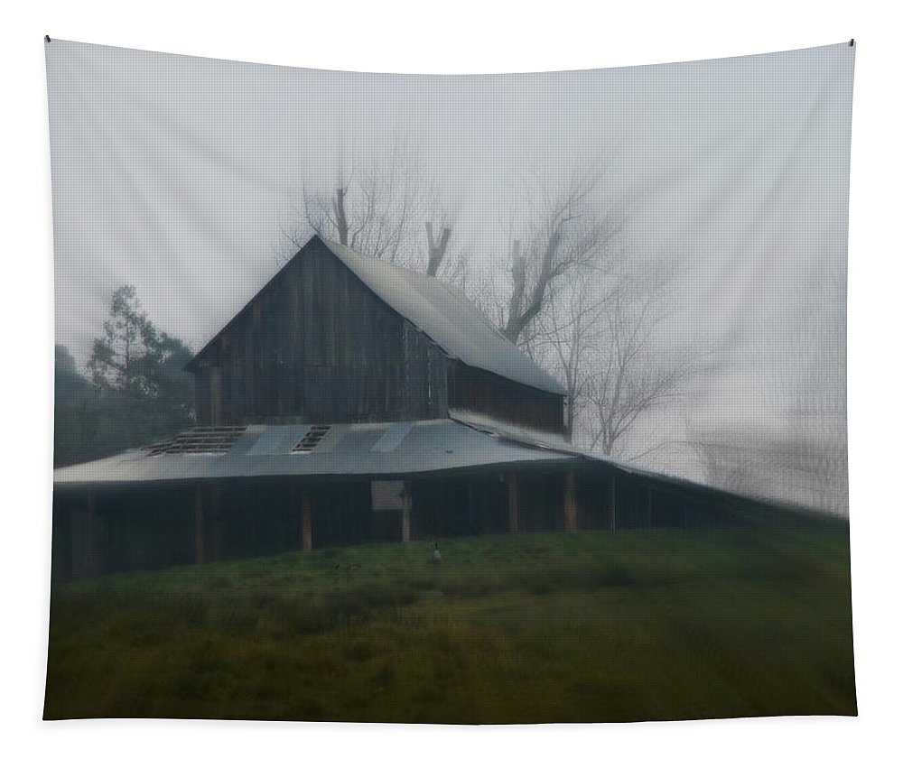 Misty Tapestry featuring the photograph Misty Barn by Mick Anderson