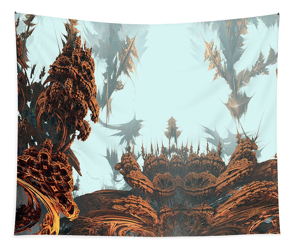 Fractal Tapestry featuring the digital art Misty Morn On Planet X by Richard Ortolano