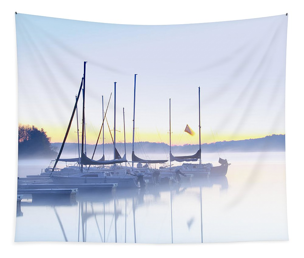Misty Tapestry featuring the photograph Misty Morning Sailboats by Bill Cannon
