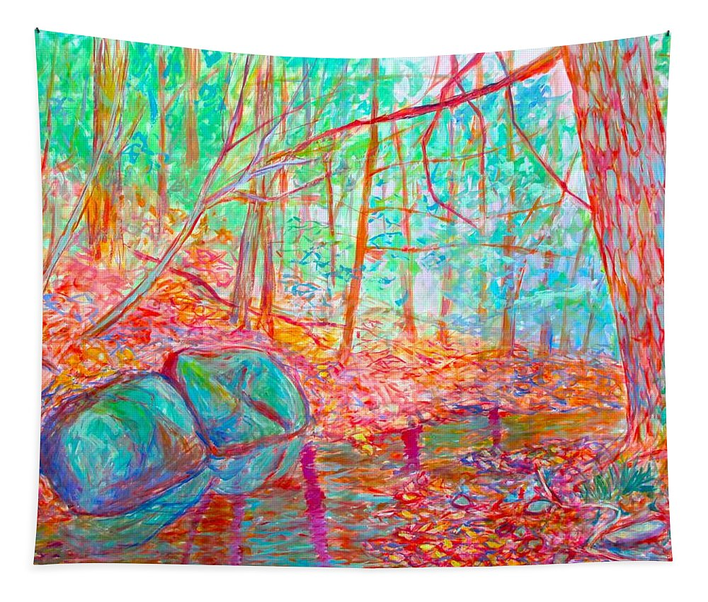 Woods Tapestry featuring the painting Misty Woods by Kendall Kessler