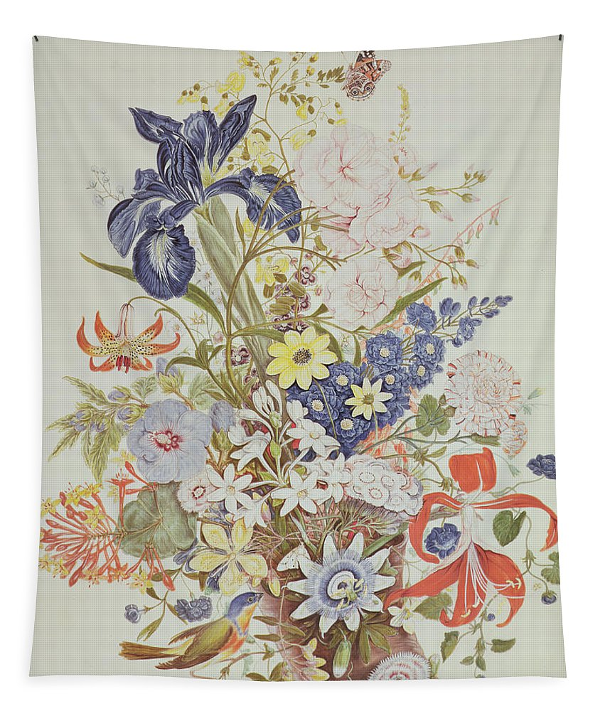 Still-life Tapestry featuring the painting Mixed Flowers In A Cornucopia by Thomas Robins