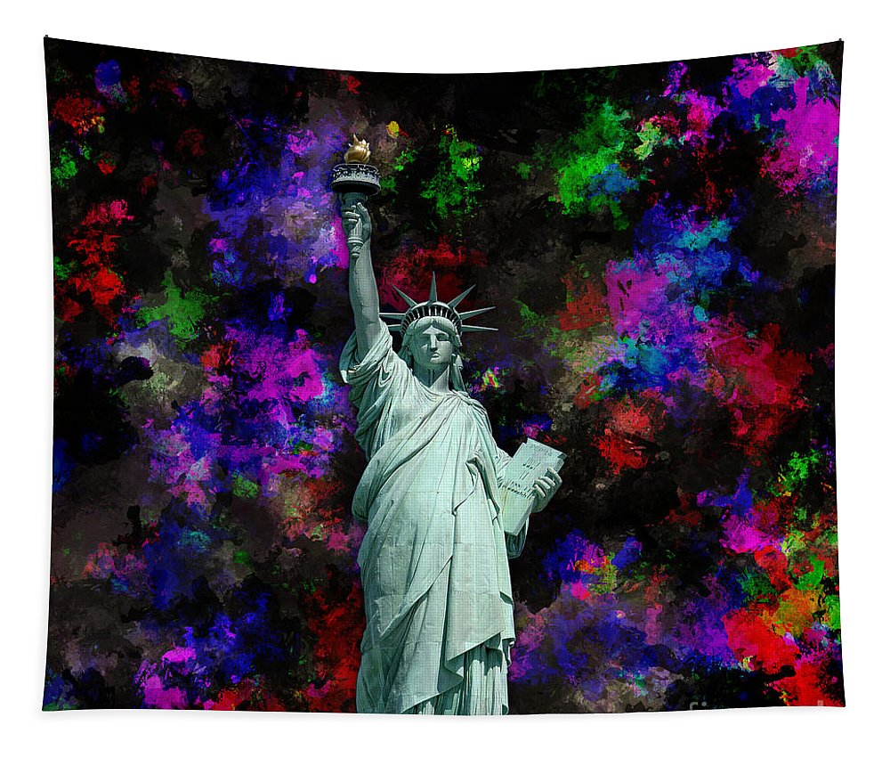 Mixed Media Tapestry featuring the digital art Mixed Media Statue Of Liberty by Phil Perkins