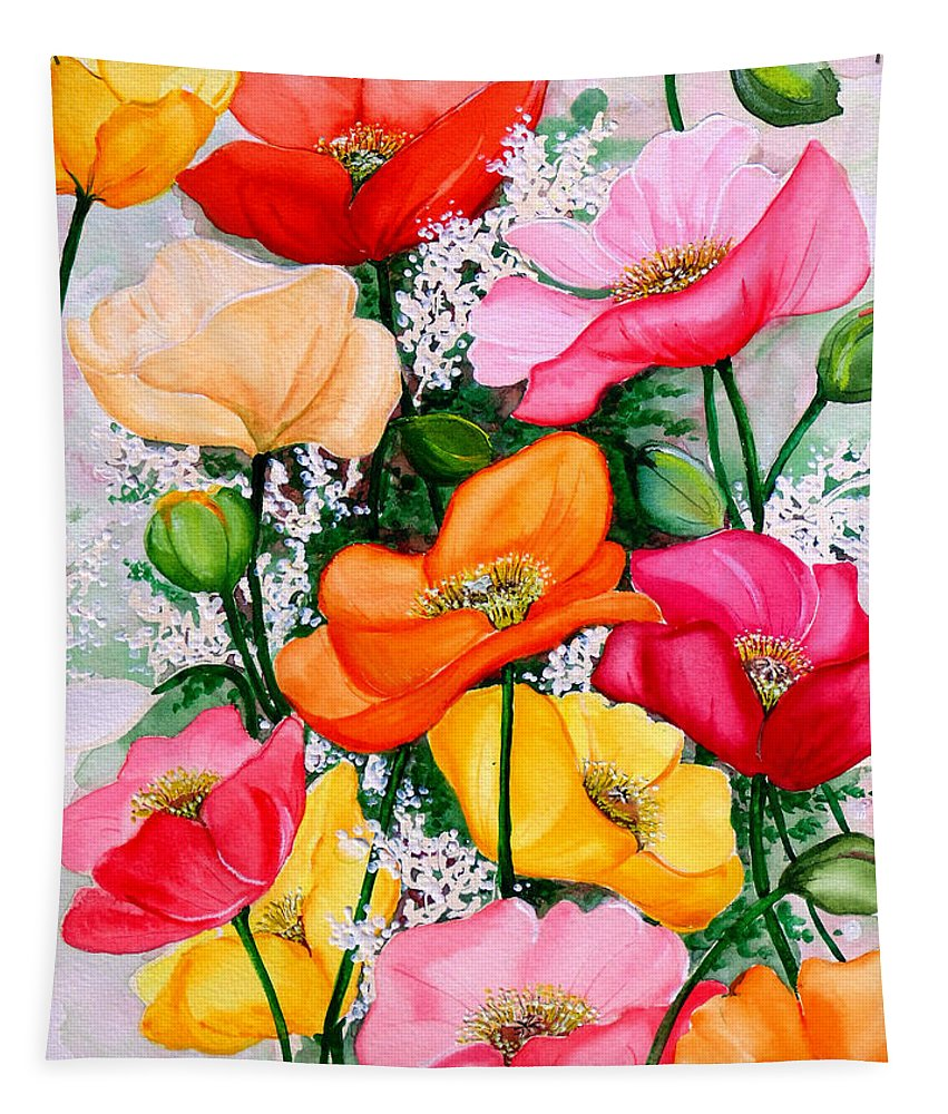 Poppies Tapestry featuring the painting Mixed Poppies by Karin Dawn Kelshall- Best