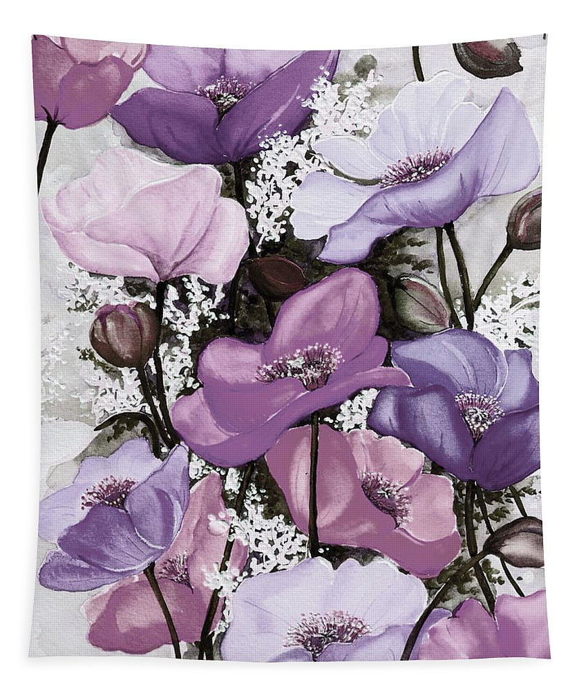 Purple Tapestry featuring the painting Mixed Poppies Purple by Karin Dawn Kelshall- Best