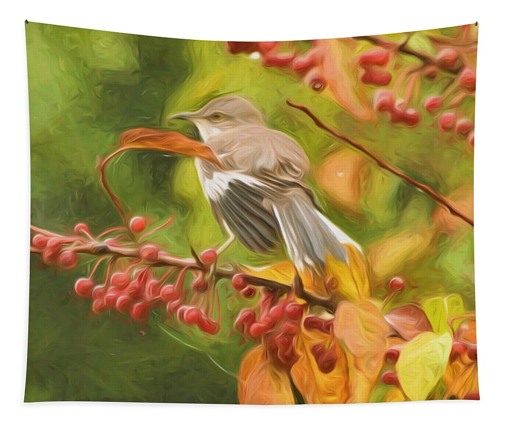 Mockingbird Tapestry featuring the photograph Mockingbird And Berries by Kerri Farley