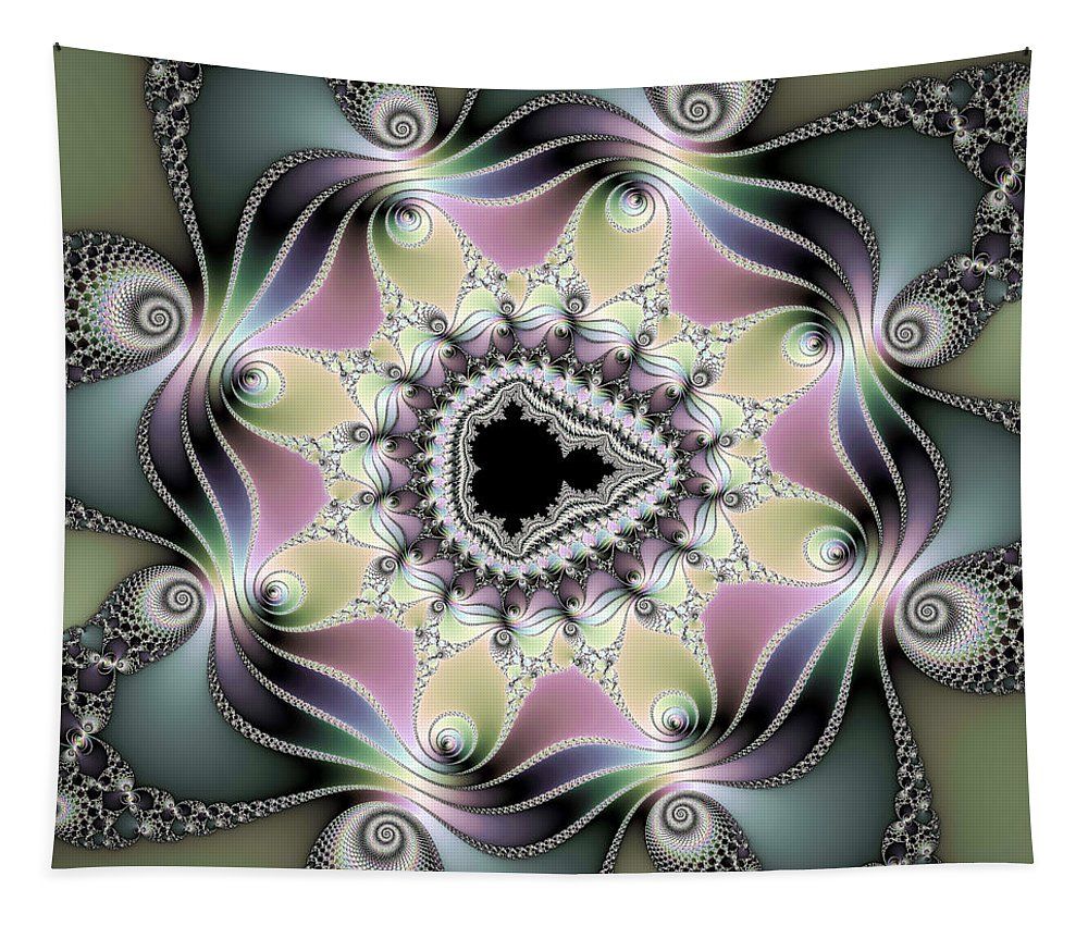 Fractal Tapestry featuring the digital art Modern Abstract Fractal Art Metallic Colors Square Format by Matthias Hauser