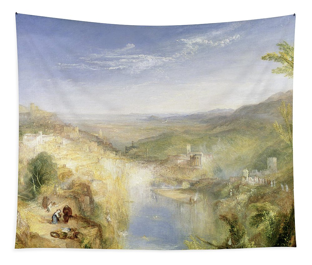 Tapestry featuring the painting Modern Italy - The Pifferari, 1838 by Joseph Mallord William Turner
