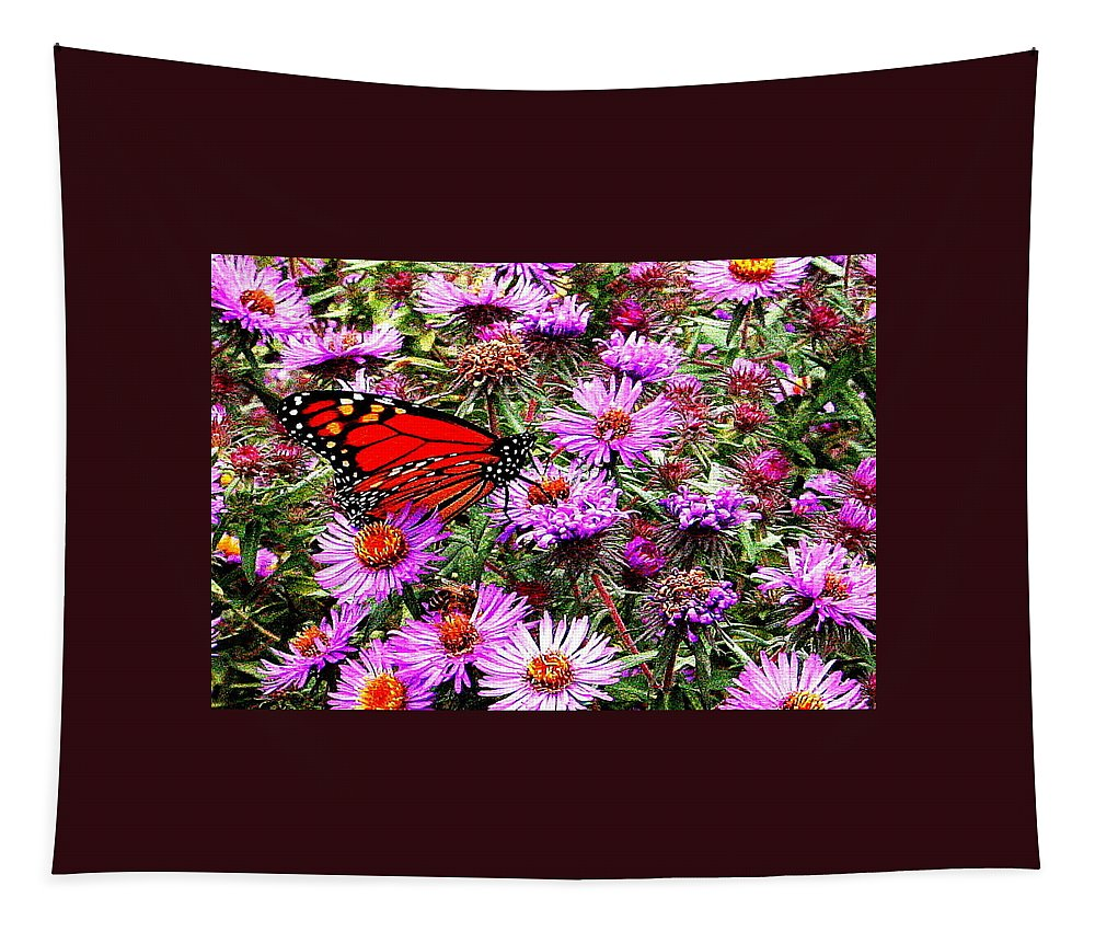 Monarch Tapestry featuring the photograph Monarch Among The Asters by Laurel Talabere