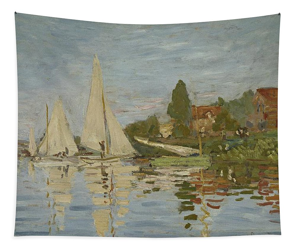 Monet Tapestry featuring the painting Monet Regattas At Argenteuil 1872 by Movie Poster Prints