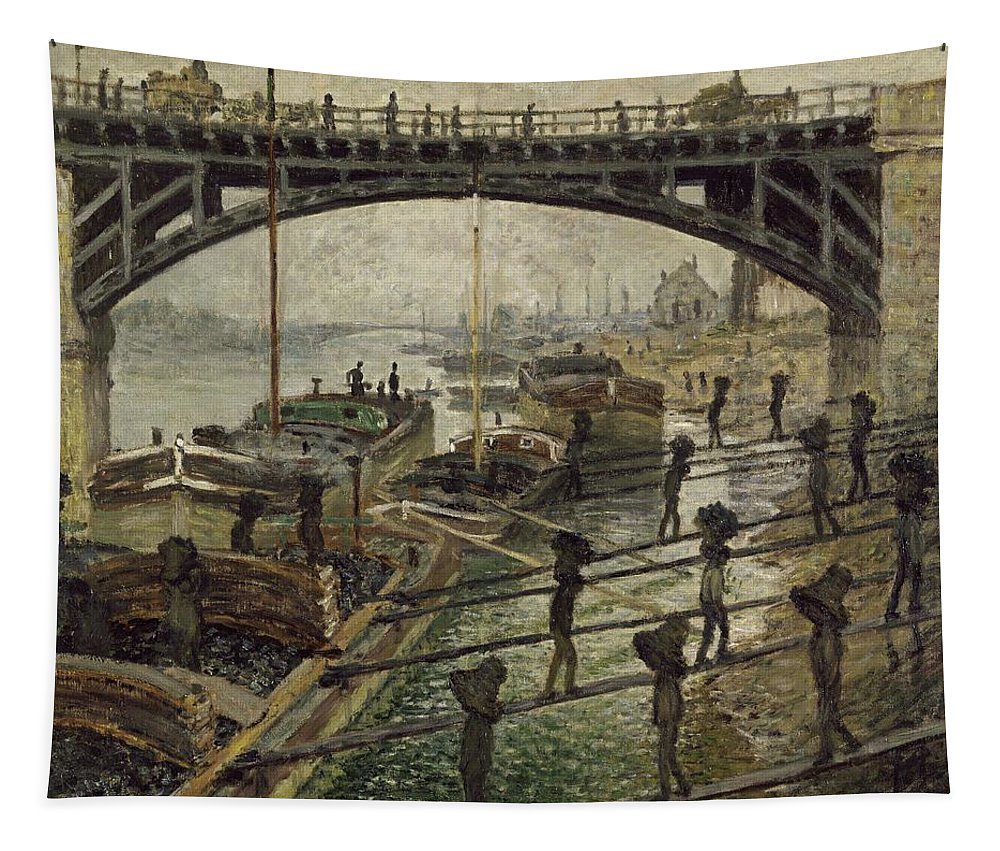 Monet Tapestry featuring the painting Monet The Coalmen 1875 by Movie Poster Prints