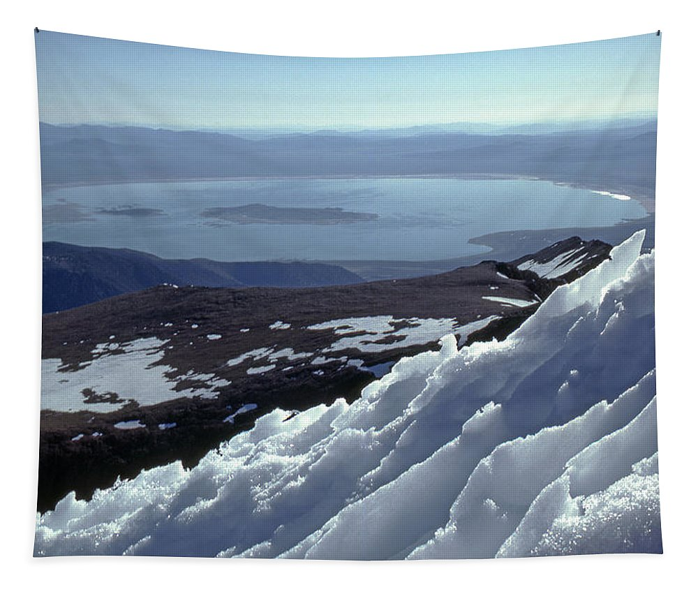Mt. Dana Tapestry featuring the photograph Mo-186-mono Lake From Mt. Dana In Winter by Ed Cooper Photography