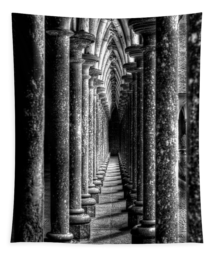 Mont St Michel Tapestry featuring the photograph Mont St Michel Pillars by Nigel R Bell