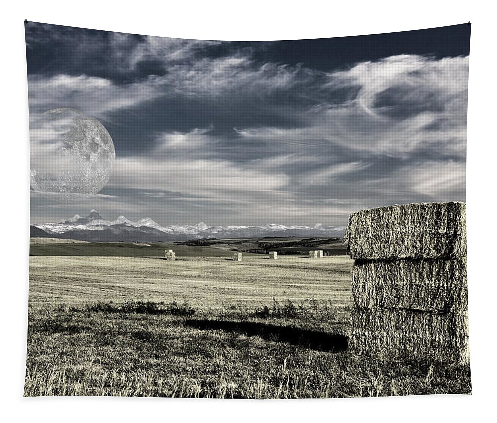 Field Tapestry featuring the digital art Montana Moonrise by Bruce Rolff