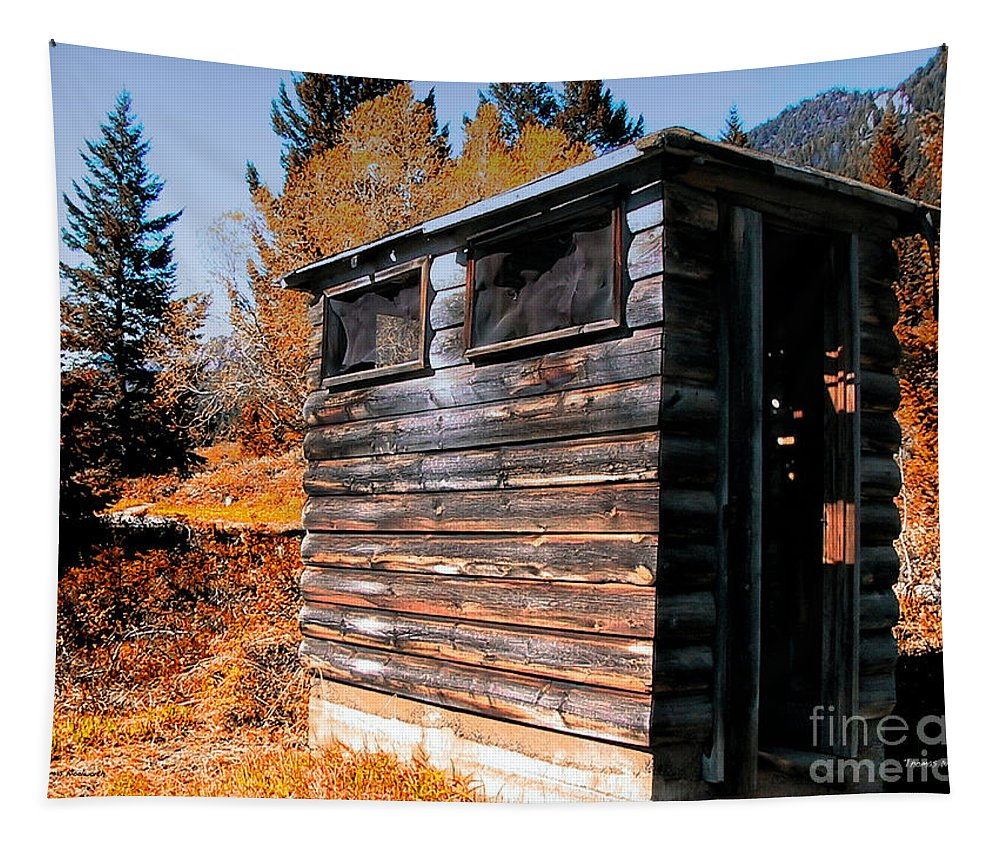 Pail Closet Tapestry featuring the photograph Montana Outhouse 03 by Thomas Woolworth
