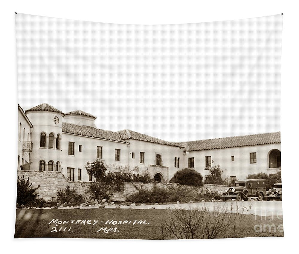 88-044-0005 Tapestry featuring the photograph Monterey Hospital At 576 Hartnell Street Circa 1939 by California Views Archives Mr Pat Hathaway Archives