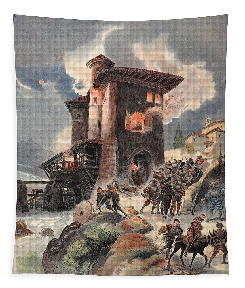 French Army Tapestry featuring the drawing Montlue Seizes The Moulins Dauriol by Albert Robida