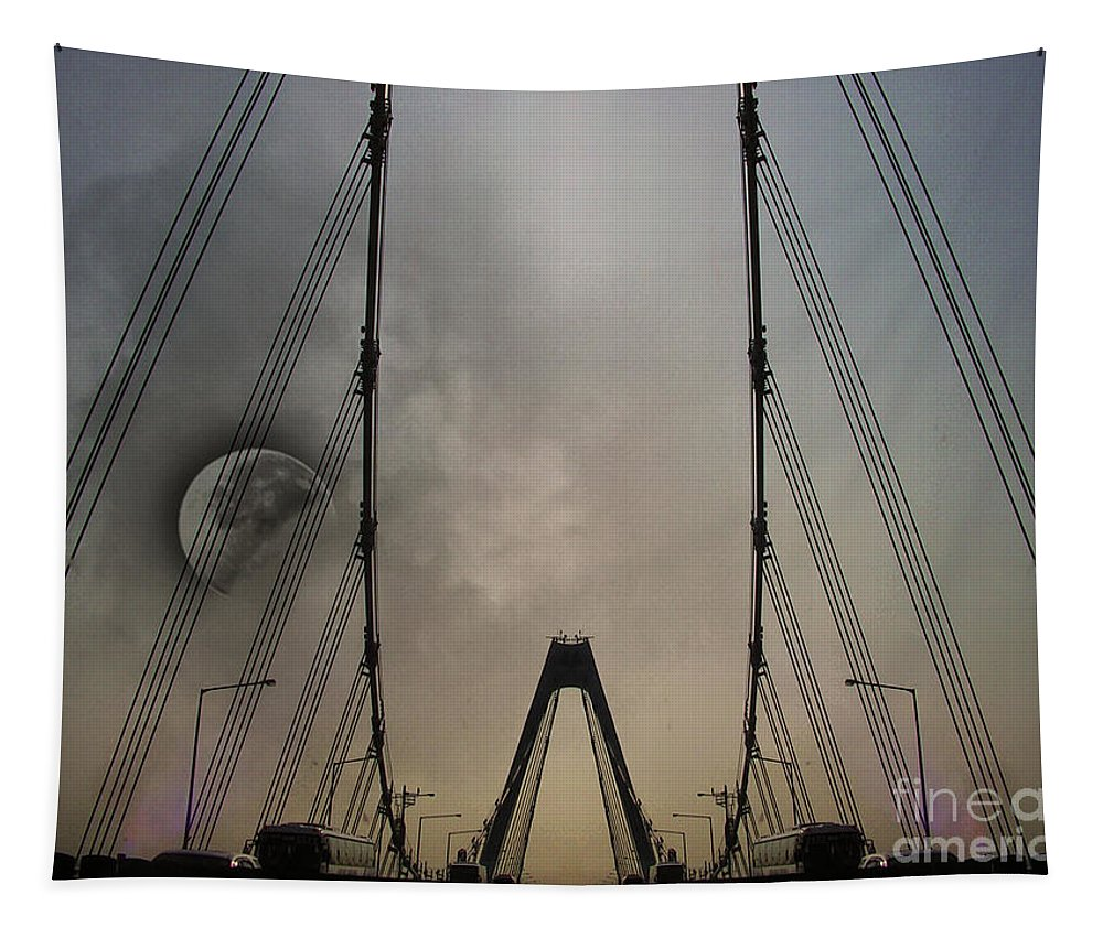 Bridge Tapestry featuring the photograph Moon And A Bridge by Ben Yassa