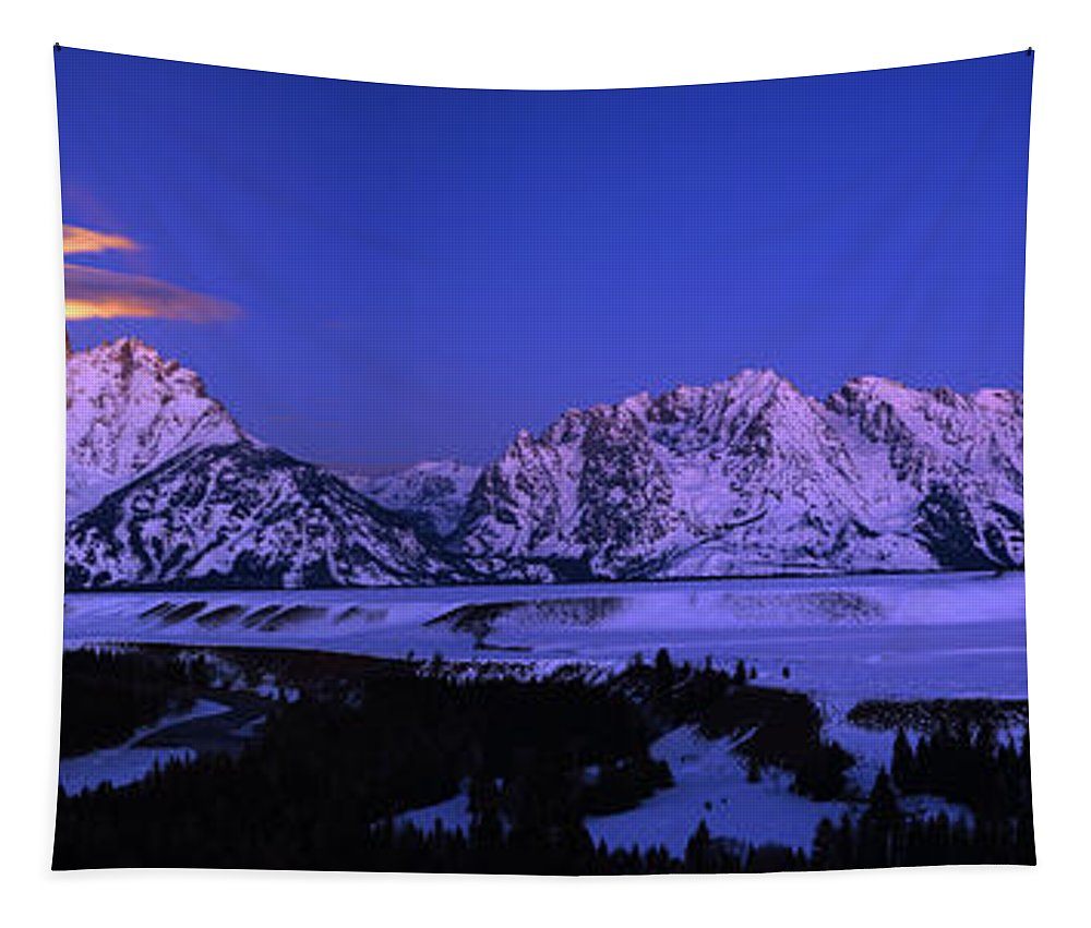 Moon Sets Over Behind The Tetons Panorama Tapestry featuring the photograph Moon Sets Over Behind The Tetons Panorama by Raymond Salani III