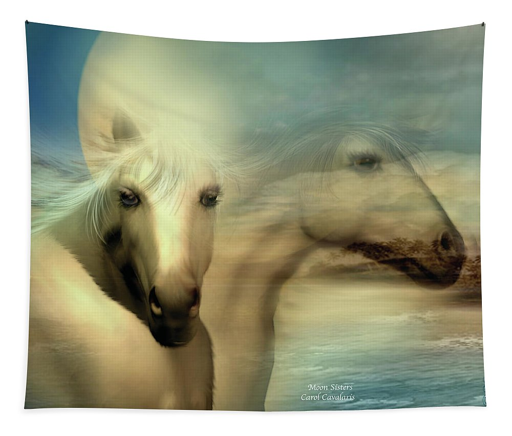 Horse Tapestry featuring the mixed media Moon Sisters by Carol Cavalaris