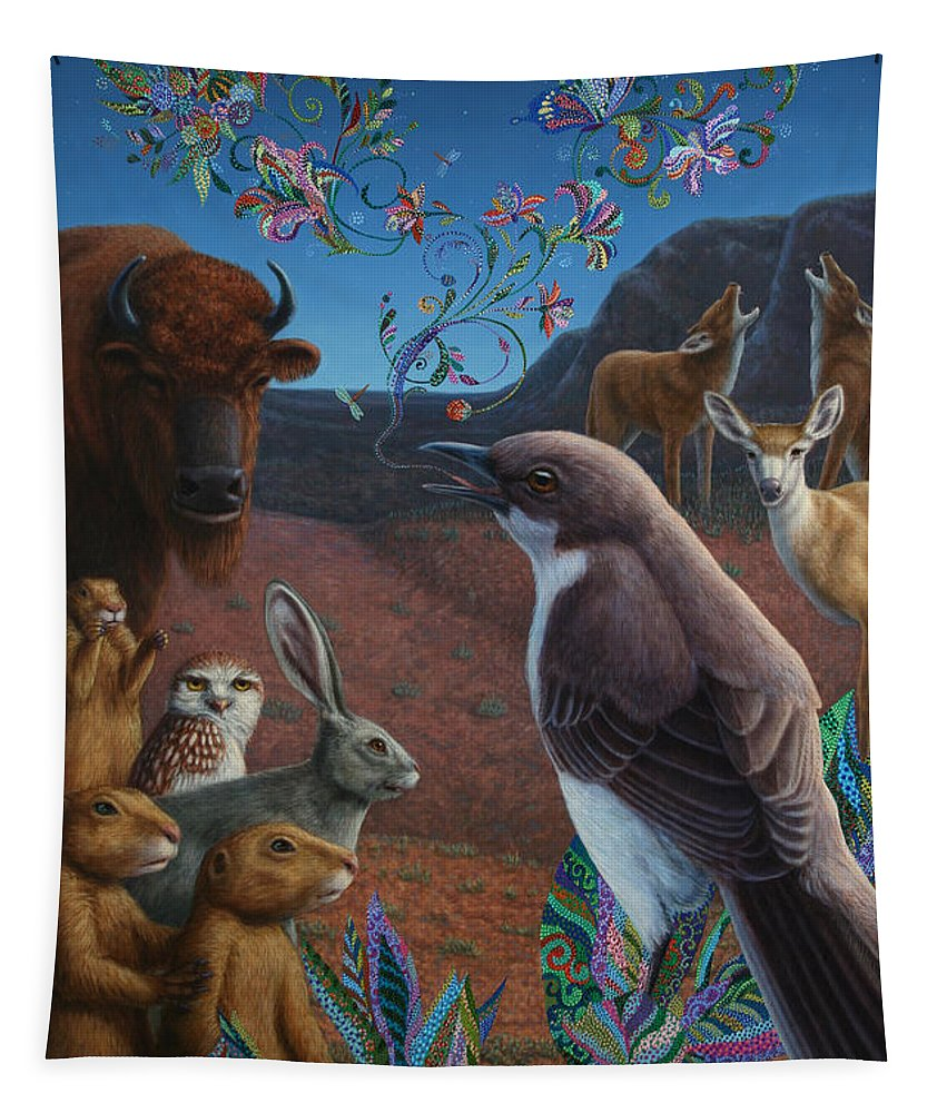 Mockingbird Tapestry featuring the painting Moonlight Cantata by James W Johnson