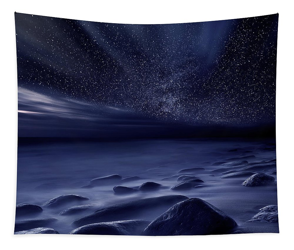 Night Tapestry featuring the photograph Moonlight by Jorge Maia