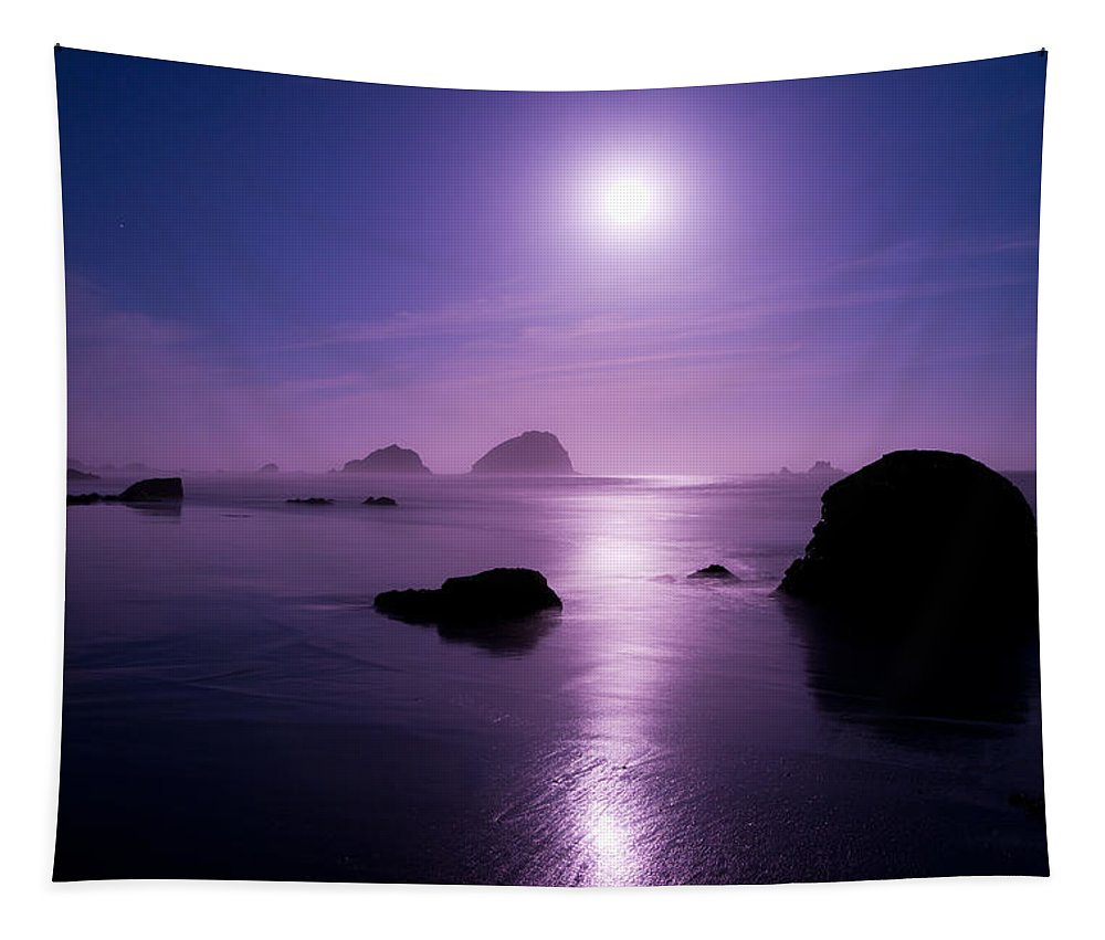California Tapestry featuring the photograph Moonlight Reflection by Chad Dutson