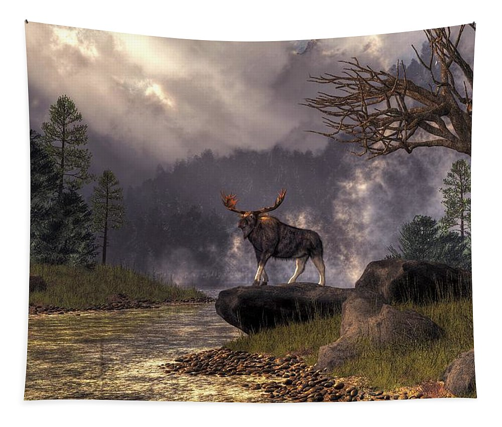 Moose In The Adirondacks Tapestry featuring the digital art Moose In The Adirondacks by Daniel Eskridge